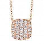 0.53ct 14k Rose Gold Diamond Pave Necklace
