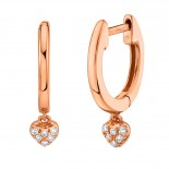 0.04ct 14k Rose Gold Diamond Pave Heart Huggie Earring