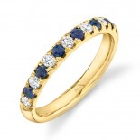 0.30ct Diamond and 0.30ct Blue Sapphire 14k Yellow Gold Lady