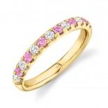 0.30ct Diamond and 0.30ct Pink Sapphire 14k Yellow Gold Lady
