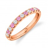 0.30ct Diamond and 0.30ct Pink Sapphire 14k Rose Gold Lady