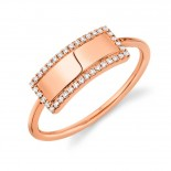 0.11ct 14k Rose Gold Diamond Bar ID Ring