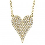 0.21ct 14k Yellow Gold Diamond Pave Heart Necklace