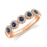 0.16ct Diamond & 0.31ct Blue Sapphire 14k Rose Gold Lady