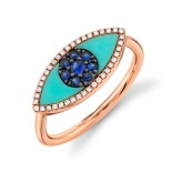 0.09ct Diamond & 0.62ct Blue Sapphire & Composite Turquoise 14k Rose Gold Eye Ring