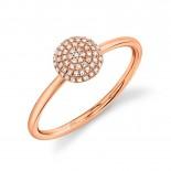 0.11ct 14k Rose Gold Diamond Pave Circle Ring