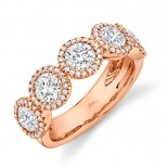 2.00ct Round Brilliant Center and 0.28ct Side 14k Rose Gold Diamond Lady