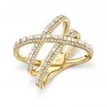 1.08ct 14k Yellow Gold Diamond Baguette Bridge Ring