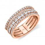0.81ct 14k Rose Gold Diamond Baguette Ring