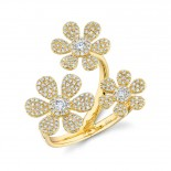 0.62ct 14k Yellow Gold Diamond Flower Ring