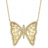 0.68ct 14k Yellow Gold Diamond Butterfly Necklace