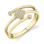 0.10ct 14k Yellow Gold Diamond Pave Clover Ring