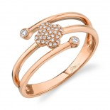 0.10ct 14k Rose Gold Diamond Pave Clover Ring