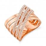 """0.54ct 14k Rose Gold Diamond Pave """"X"""" Ring"""