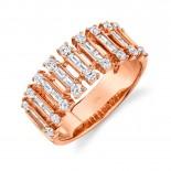 0.82ct 14k Rose Gold Diamond Baguette Ring