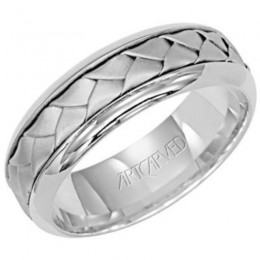14KW Gents Woven Sand Blasted Texture Wedding Band - 6.5 Mm - Size 10