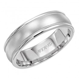 14KW Gents Satin Textured Wedding Band - 6.5 Mm - Size 10