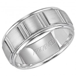 14KW Gents Engraved Wedding Band -8 Mm -Size 10