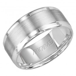 14KW Gents Engraved Wedding Band -8.5Mm -Size 10