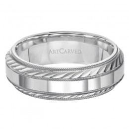 14KW Gents Engraved Wedding Band -7Mm -Size 10