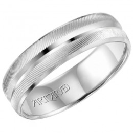 4Kw Gents Engraved Wedding Band -6Mm -Size 10