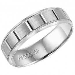 14KW Gents Engraved Wedding Band -6Mm -Size 10