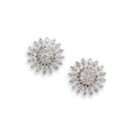 Roberto Coin  White Gold Diamond Sunburst Stud Earrings - Small