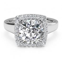 Ritani Cushion French Set Halo Diamond Semi Mounting