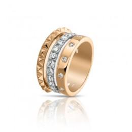 Hulchi Belluni Cubini Ring, 18k Yellow & White Gold