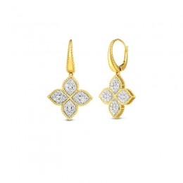 18K Gold & Diamond Medium Flower Drop Earrings