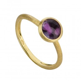 "Marco Bicego  ""Jaipur"" 18 Karat Yellow Gold Ring With Single Amethyst Center Stone. Size 7"