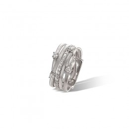 Goa Three Strand Diamond Ring In White Gold