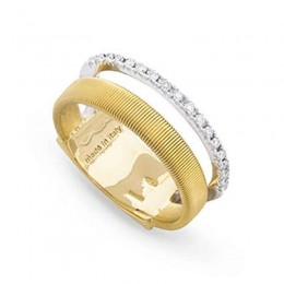 Masai Two Row Pave Diamond Ring In Yellow & White Gold