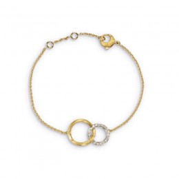 Jaipur Yellow Gold Link Circle Round Diamond Bracelet