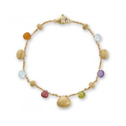 18K Mixed Stone and Gold Teardrop Bracelet