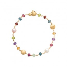 Africa 18K Yellow Gold Gemstone and Pearl Single Strand Bracelet