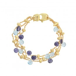 Paradise Iolite and Blue Topaz Three Strand Bracelet