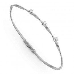 Marco Bicego Marrakech 18Kt. White Gold Single Strand Bracelet With 3 Diamonds Totaling .15Carats.