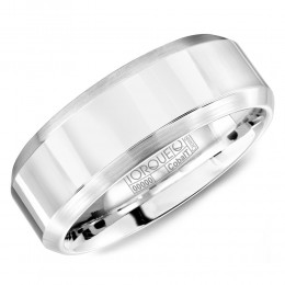 A White Cobalt Torque Band With Brushed Beveled Edges.