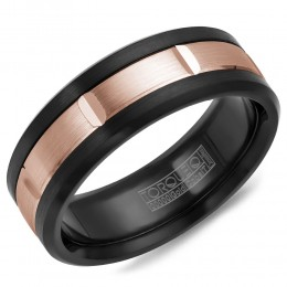 A Black Cobalt Torque Band With A Rose Gold Inlay.