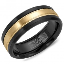 A Black Cobalt Torque Band With A Yellow Gold Inlay And Milgrain Detailing.