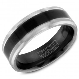A High Polished Black Cobalt Torque Band With White Cobalt Edges.