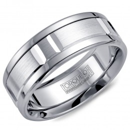 A Torque Ring In White Cobalt With A White Gold Inlay And Carved Detailing.