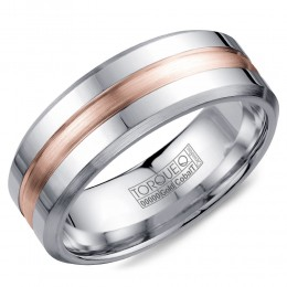 A Torque Ring In White Cobalt With A Brushed Rose Gold Center.