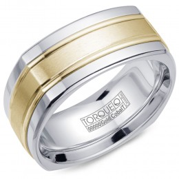 A Torque Ring In White Cobalt With A White Gold Center And Polished Line Detailing.