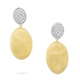 Siviglia Grande Yellow Gold and Diamond Medium Drop Earring