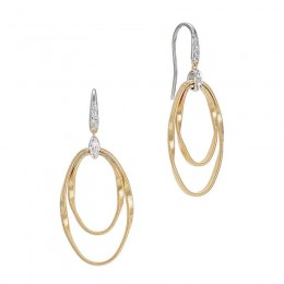 Marrakech Onde Yellow Gold and Diamond Double Concentric Hook Earring