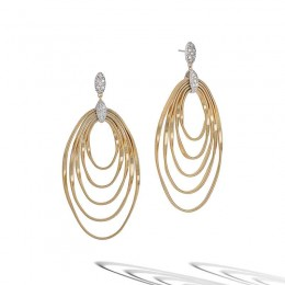Marrakech Onde Yellow Gold and Diamond Large Concentric Earrings