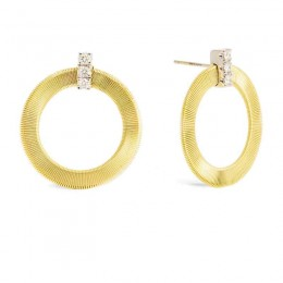 Masai Yellow Gold and Diamond Front Facing Hoops