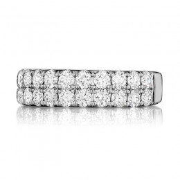 Henri Daussi White Gold Half Way 2 Row Diamond Pave Band
